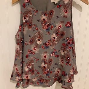 New $45 Loft Ann Taylor layered feather print Top